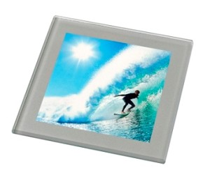 Glass Photo Coaster with Silver Border (Pack of 50)